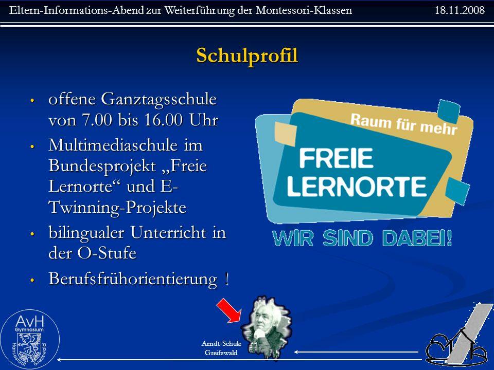 Schulprofil offene Ganztagsschule von 7.00 bis 16.00 Uhr
