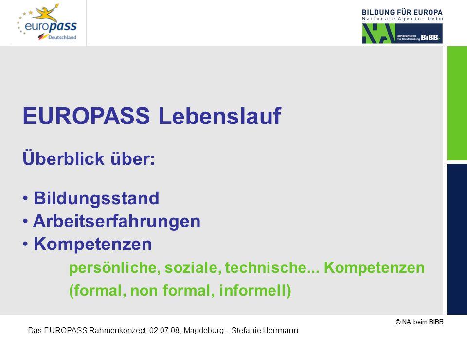 EUROPASS Lebenslauf Überblick über: Bildungsstand Arbeitserfahrungen