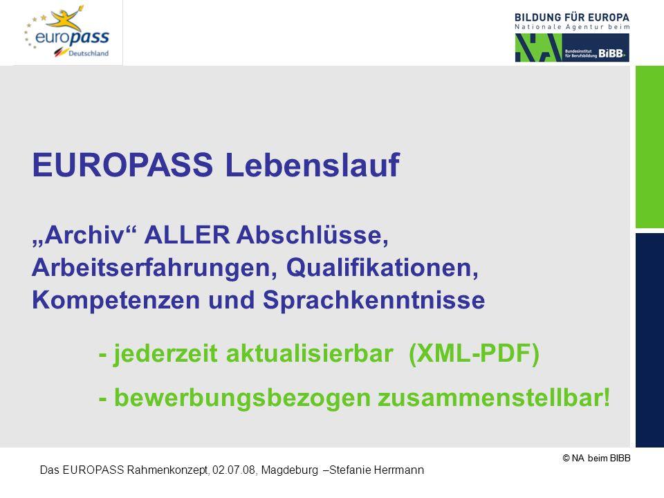 """EUROPASS Lebenslauf """"Archiv ALLER Abschlüsse,"""