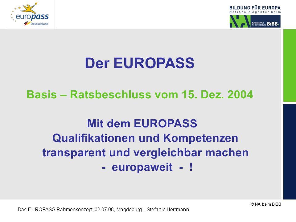 Der EUROPASS Basis – Ratsbeschluss vom 15. Dez. 2004 Mit dem EUROPASS