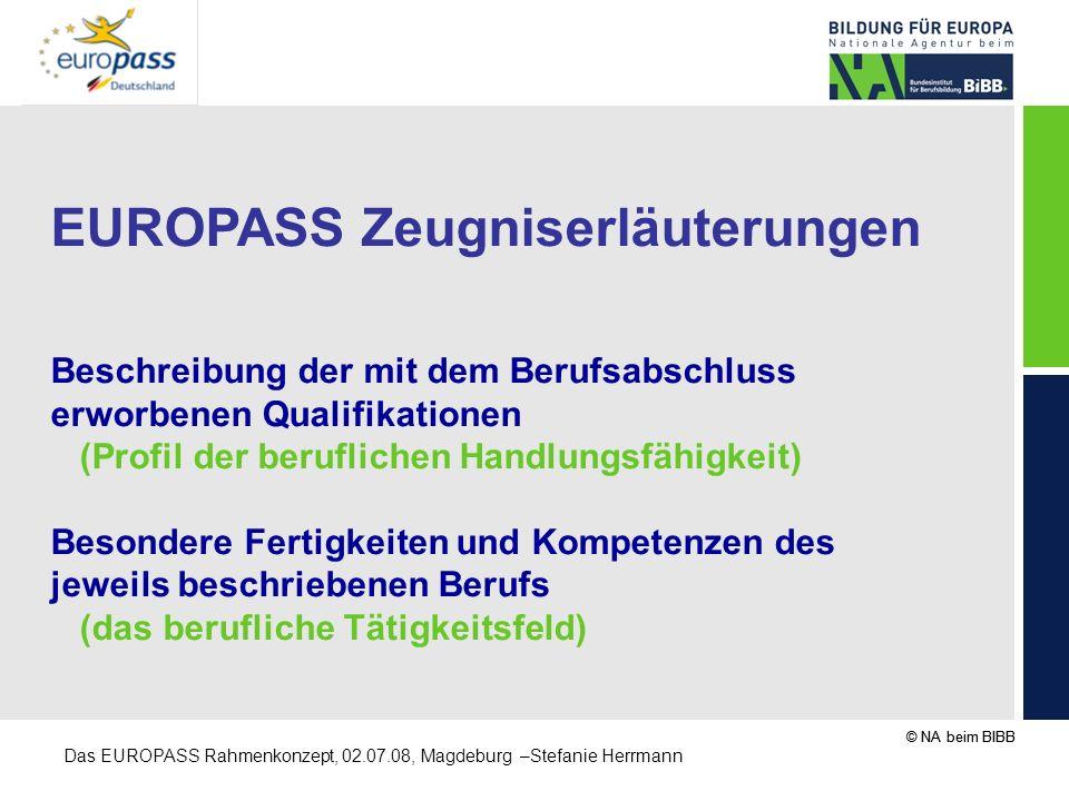 EUROPASS Zeugniserläuterungen