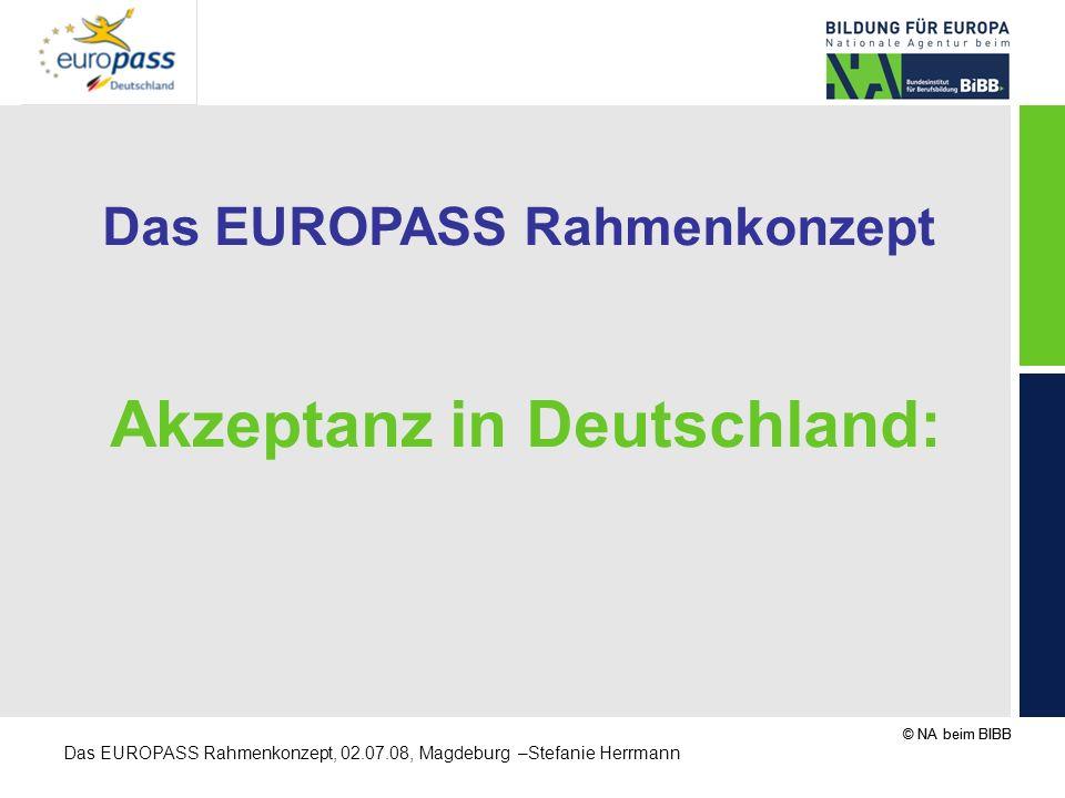 Das EUROPASS Rahmenkonzept Akzeptanz in Deutschland:
