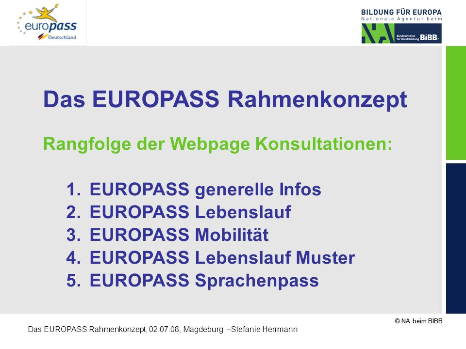 Das EUROPASS Rahmenkonzept