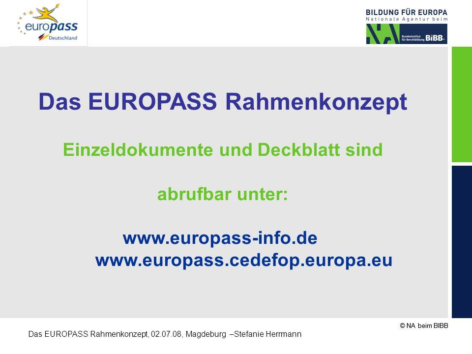Das EUROPASS Rahmenkonzept Einzeldokumente und Deckblatt sind