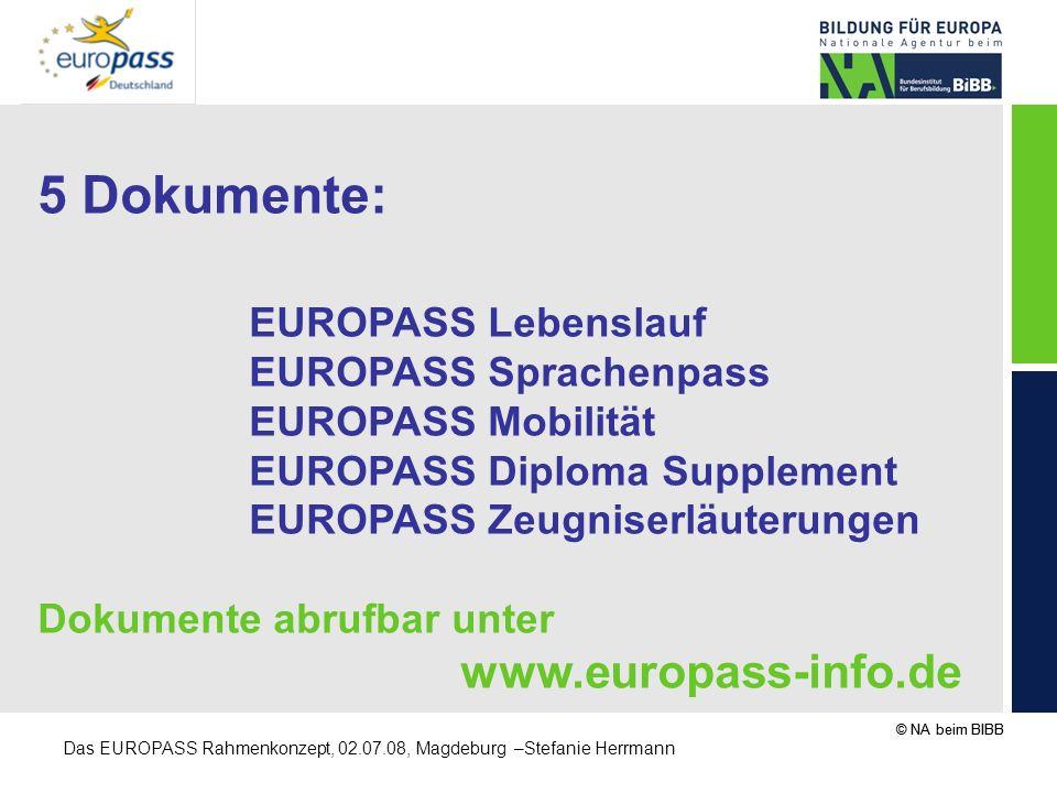 5 Dokumente: EUROPASS Lebenslauf EUROPASS Sprachenpass