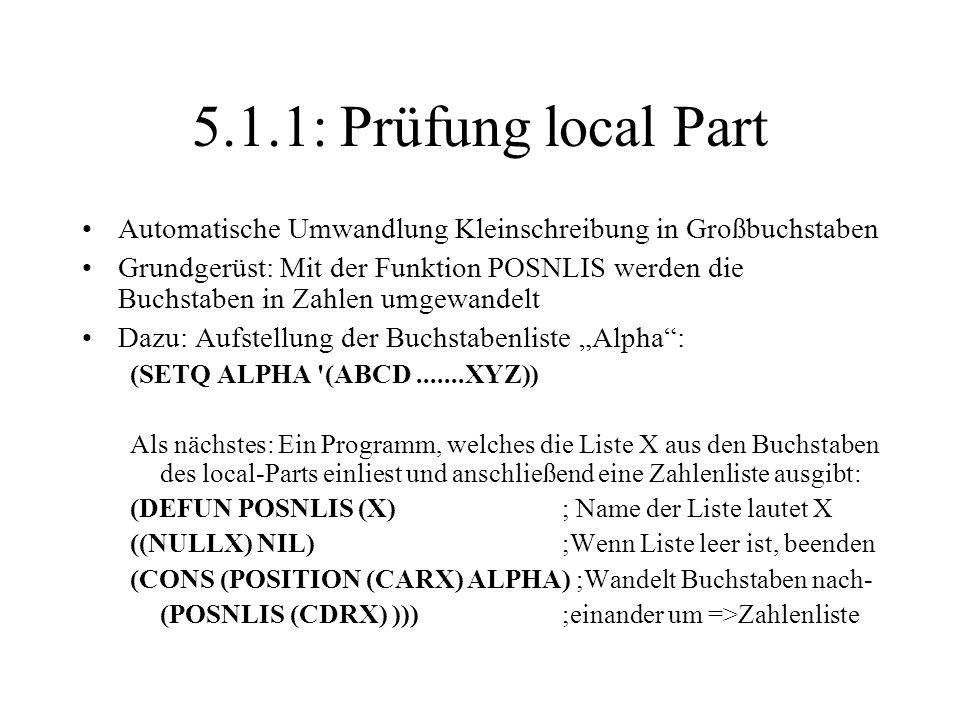5.1.1: Prüfung local Part Automatische Umwandlung Kleinschreibung in Großbuchstaben.