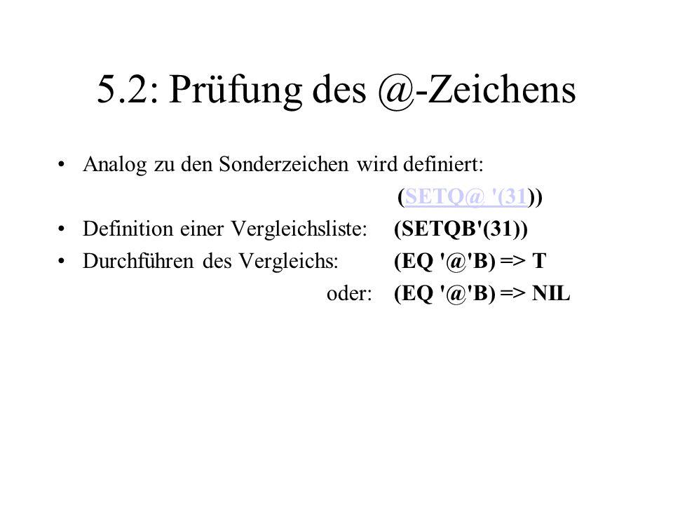 5.2: Prüfung des @-Zeichens
