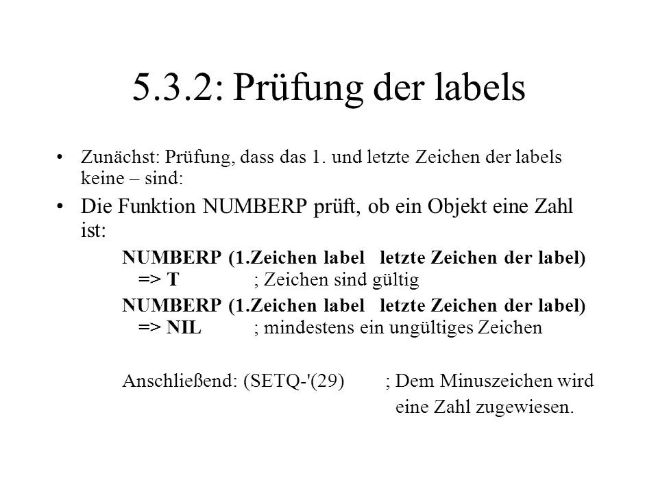 5.3.2: Prüfung der labelsZunächst: Prüfung, dass das 1. und letzte Zeichen der labels keine – sind: