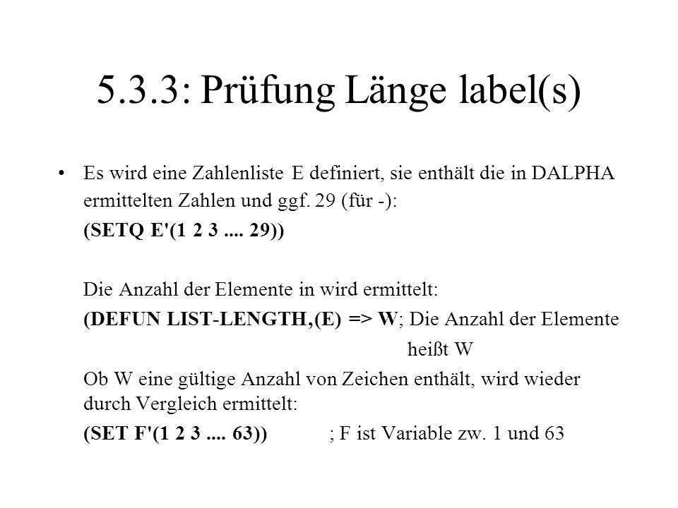 5.3.3: Prüfung Länge label(s)