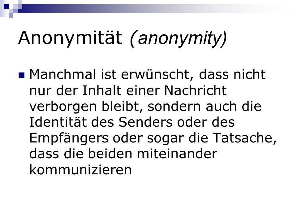 Anonymität (anonymity)
