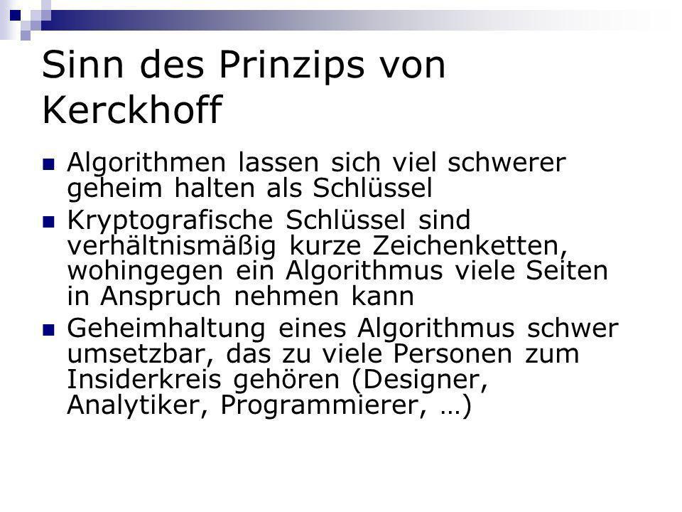 Sinn des Prinzips von Kerckhoff