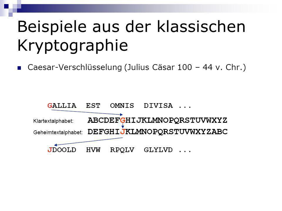 Beispiele aus der klassischen Kryptographie