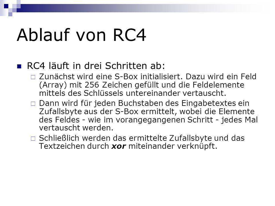 Ablauf von RC4 RC4 läuft in drei Schritten ab: