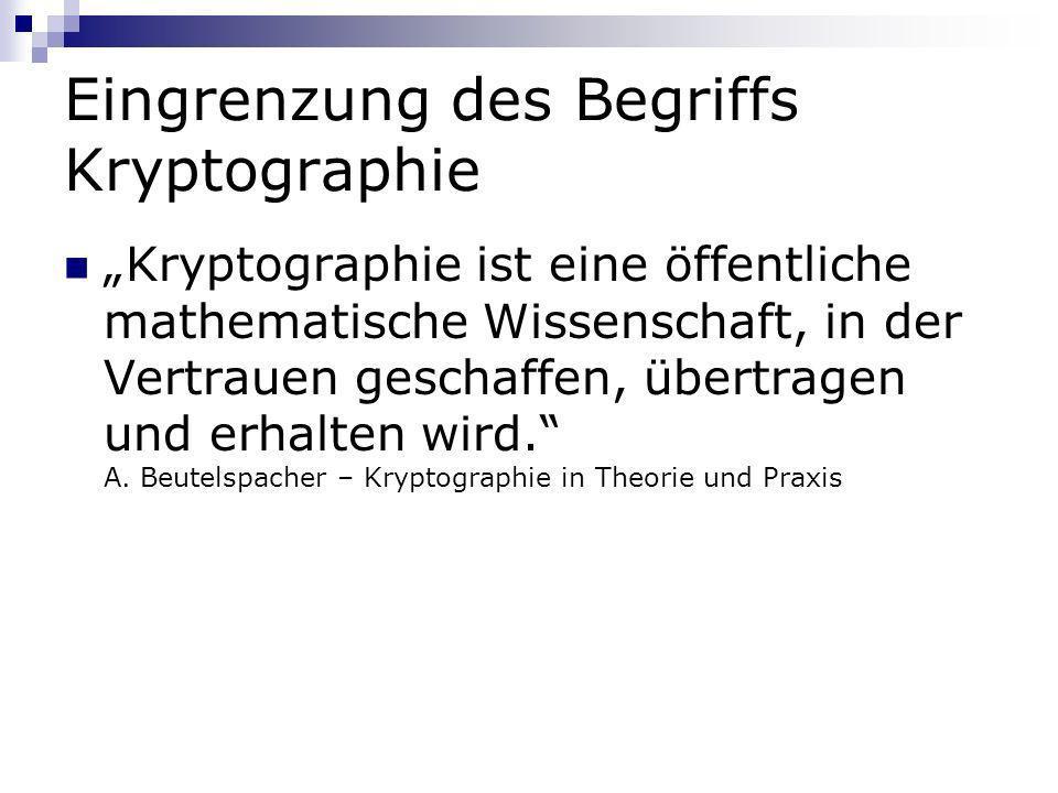 Eingrenzung des Begriffs Kryptographie