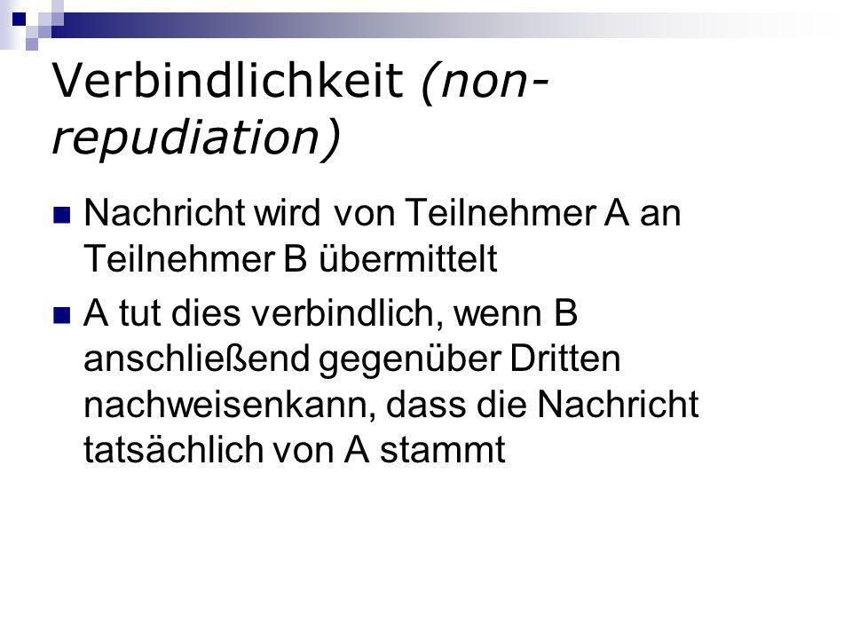 Verbindlichkeit (non-repudiation)