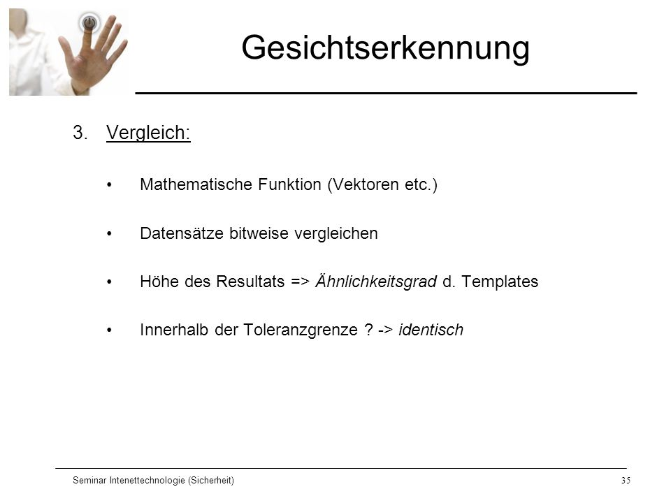Gesichtserkennung Vergleich: Mathematische Funktion (Vektoren etc.)