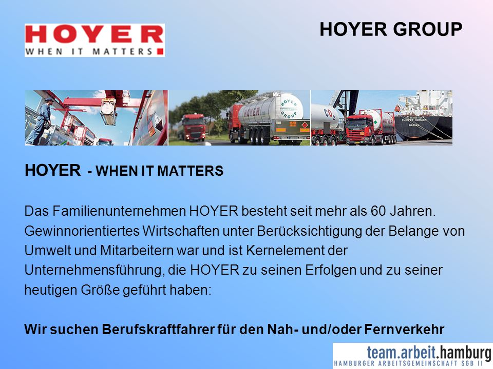 HOYER GROUP HOYER - WHEN IT MATTERS