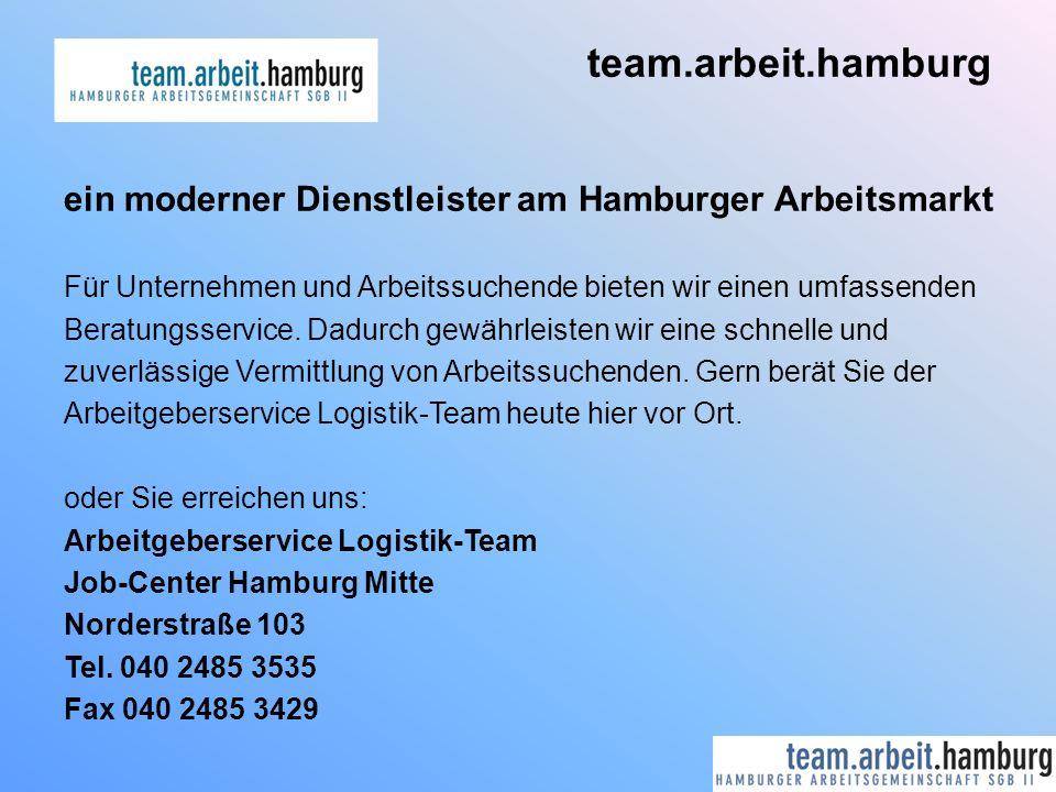 team.arbeit.hamburg ein moderner Dienstleister am Hamburger Arbeitsmarkt. Für Unternehmen und Arbeitssuchende bieten wir einen umfassenden.