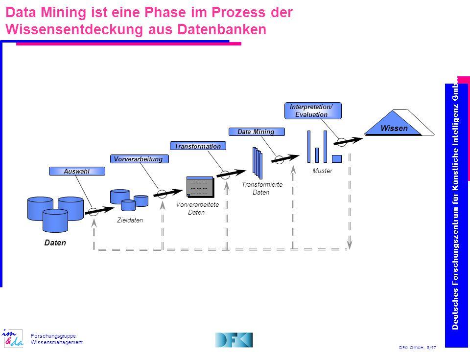 Data Mining ist eine Phase im Prozess der Wissensentdeckung aus Datenbanken