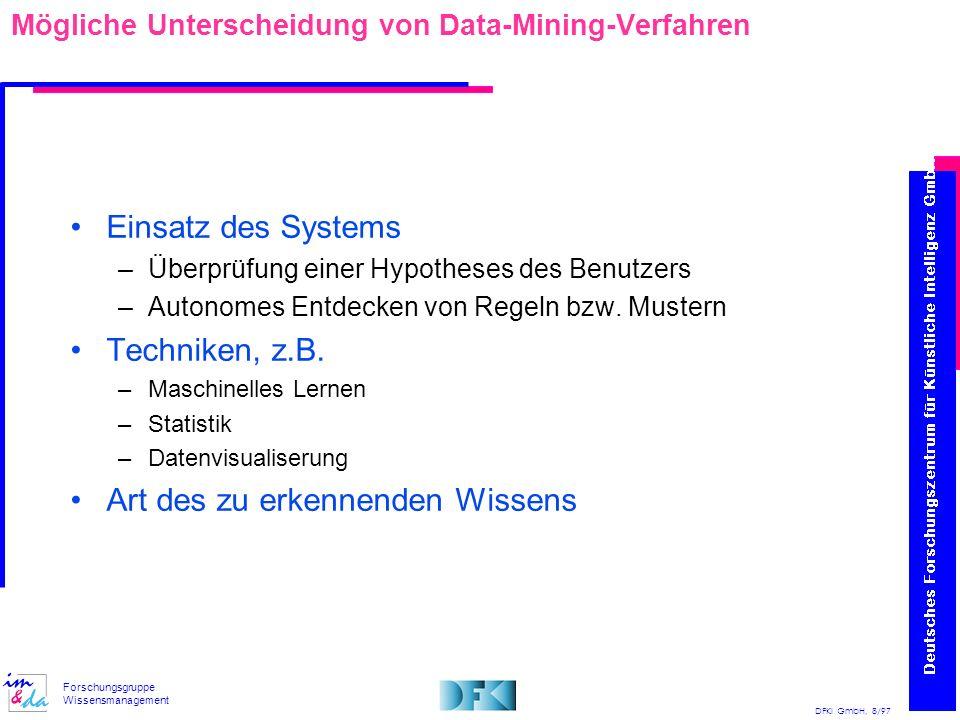 Mögliche Unterscheidung von Data-Mining-Verfahren