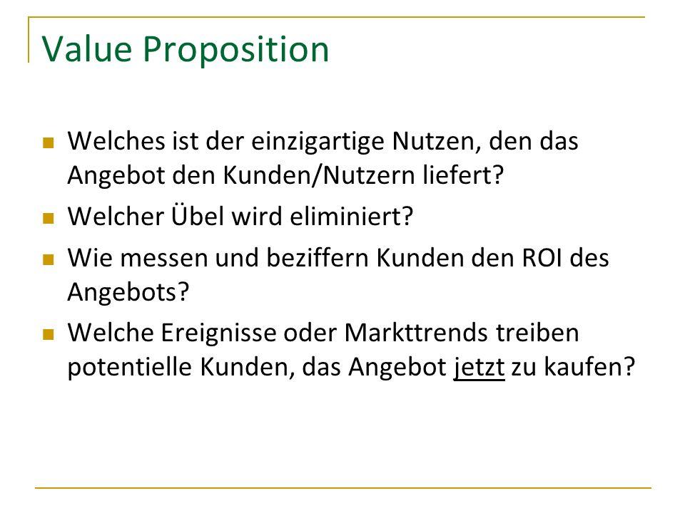 Value Proposition Welches ist der einzigartige Nutzen, den das Angebot den Kunden/Nutzern liefert Welcher Übel wird eliminiert