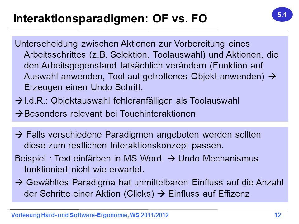 Interaktionsparadigmen: OF vs. FO