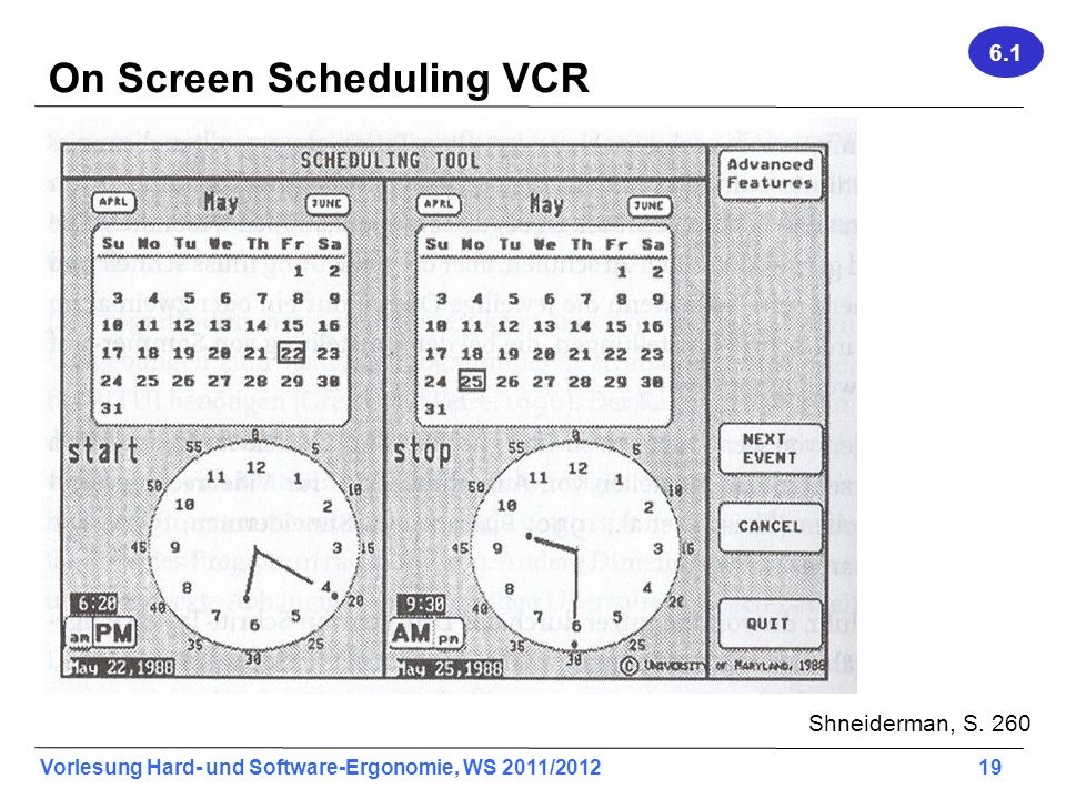 On Screen Scheduling VCR
