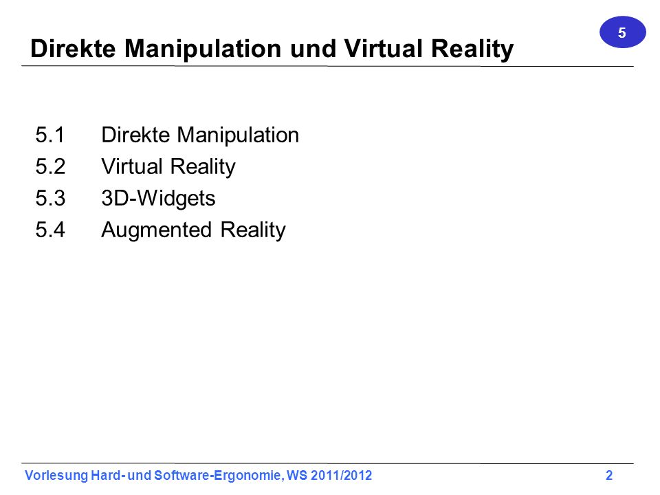 Direkte Manipulation und Virtual Reality
