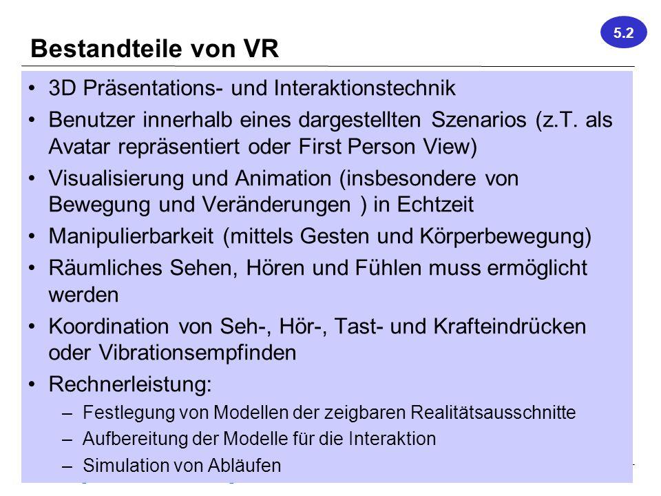 Bestandteile von VR 3D Präsentations- und Interaktionstechnik