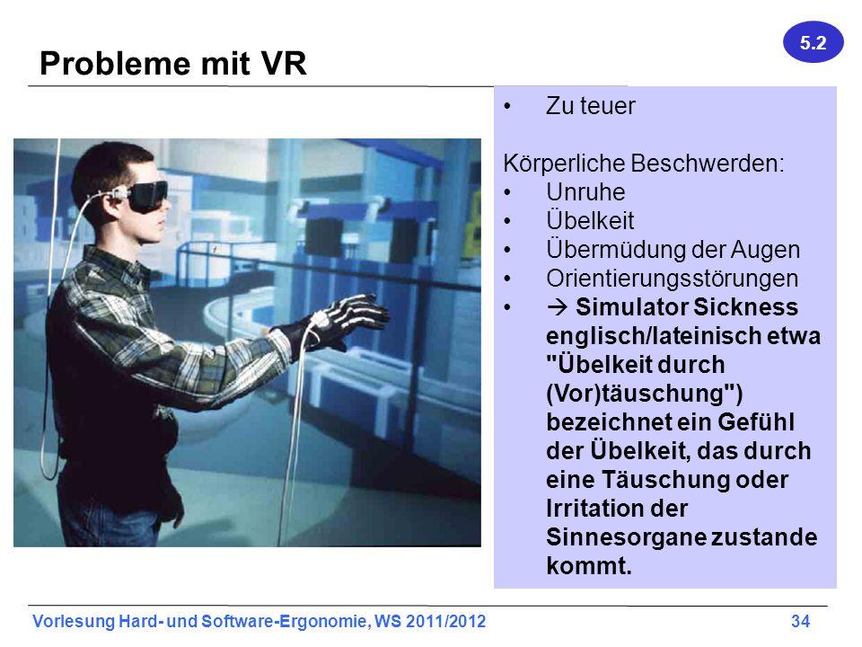 Probleme mit VR Zu teuer Körperliche Beschwerden: Unruhe Übelkeit