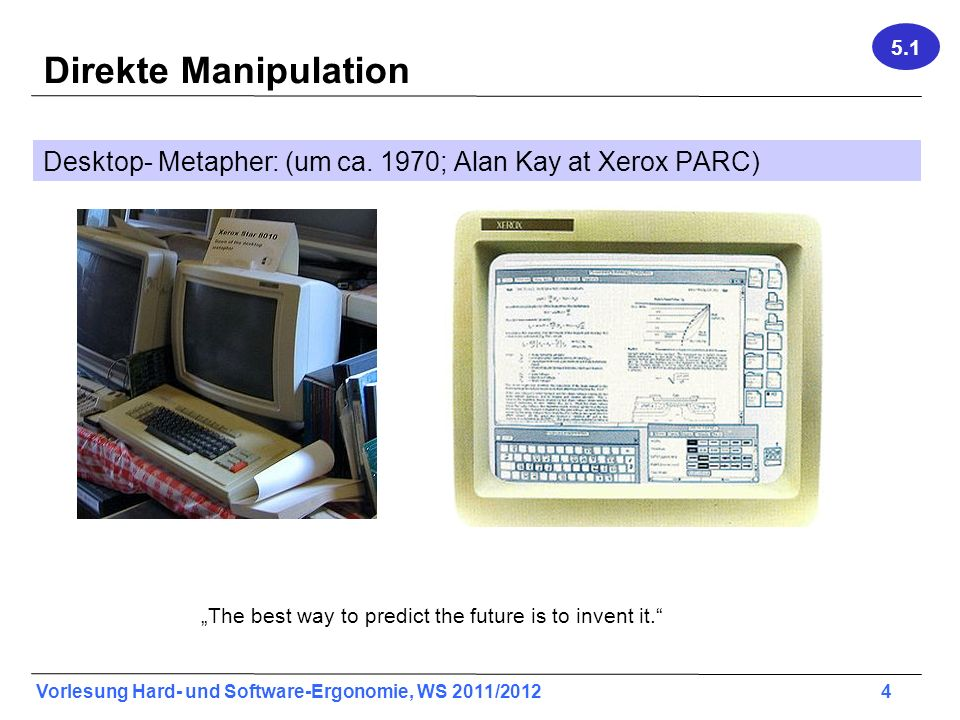 5.1 Direkte Manipulation. Desktop- Metapher: (um ca. 1970; Alan Kay at Xerox PARC) Xerox Star: