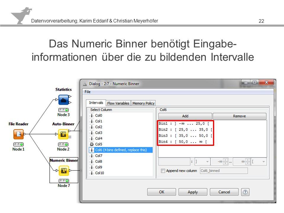 Das Numeric Binner benötigt Eingabe-informationen über die zu bildenden Intervalle