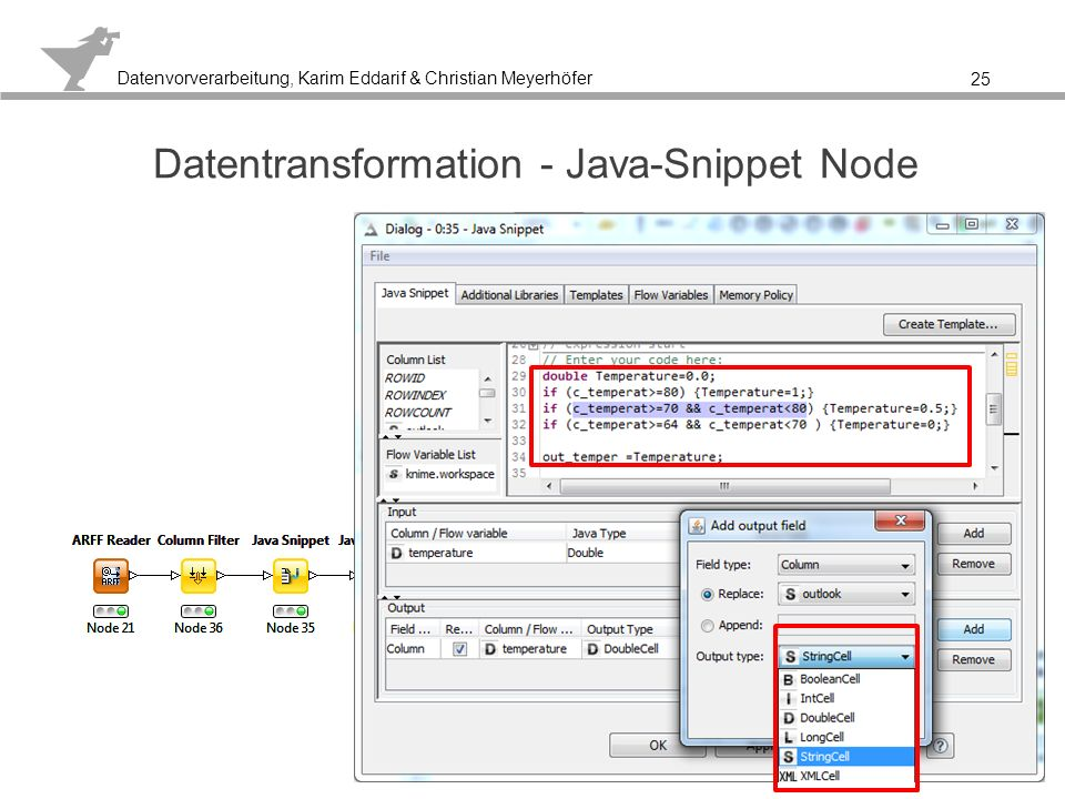 Datentransformation - Java-Snippet Node
