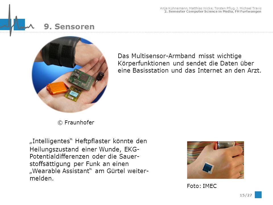 9. Sensoren Das Multisensor-Armband misst wichtige Körperfunktionen und sendet die Daten über eine Basisstation und das Internet an den Arzt.