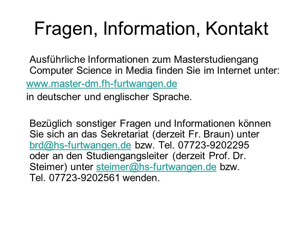 Fragen, Information, Kontakt