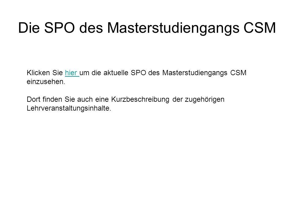 Die SPO des Masterstudiengangs CSM