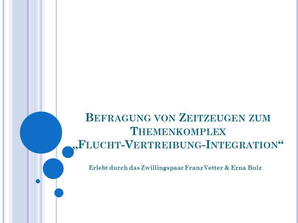 Erlebt durch das Zwillingspaar Franz Vetter & Erna Bulz