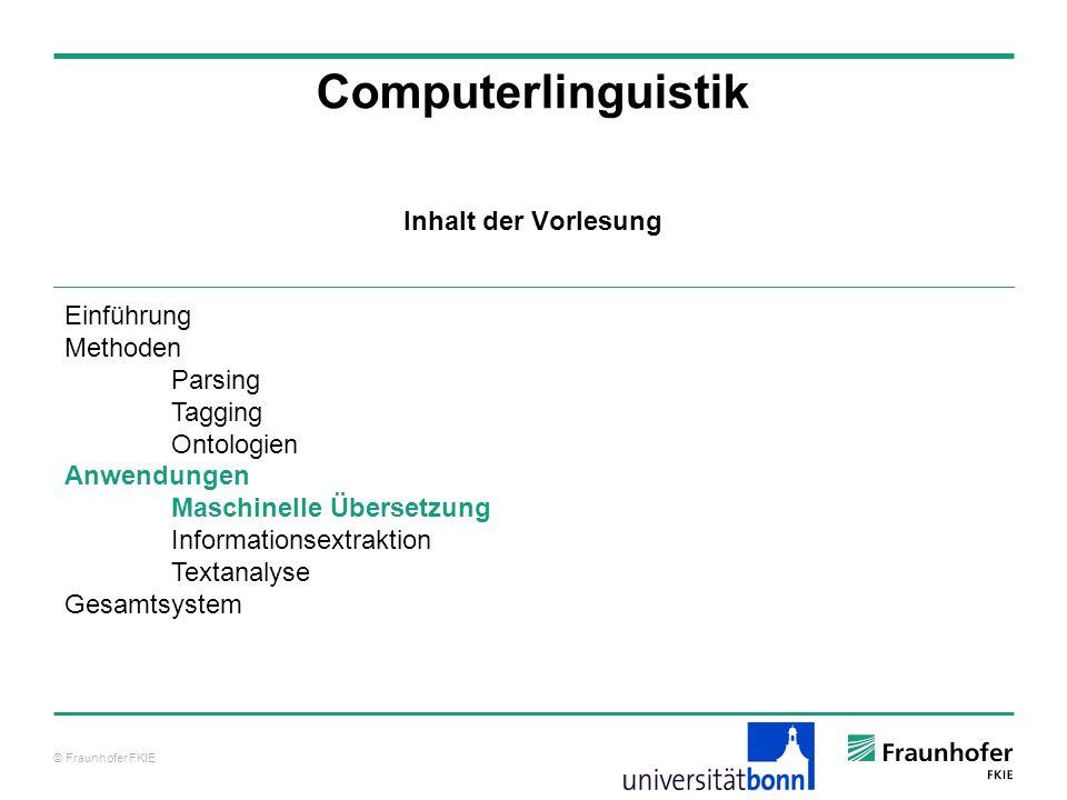 Computerlinguistik Inhalt der Vorlesung Einführung Methoden Parsing