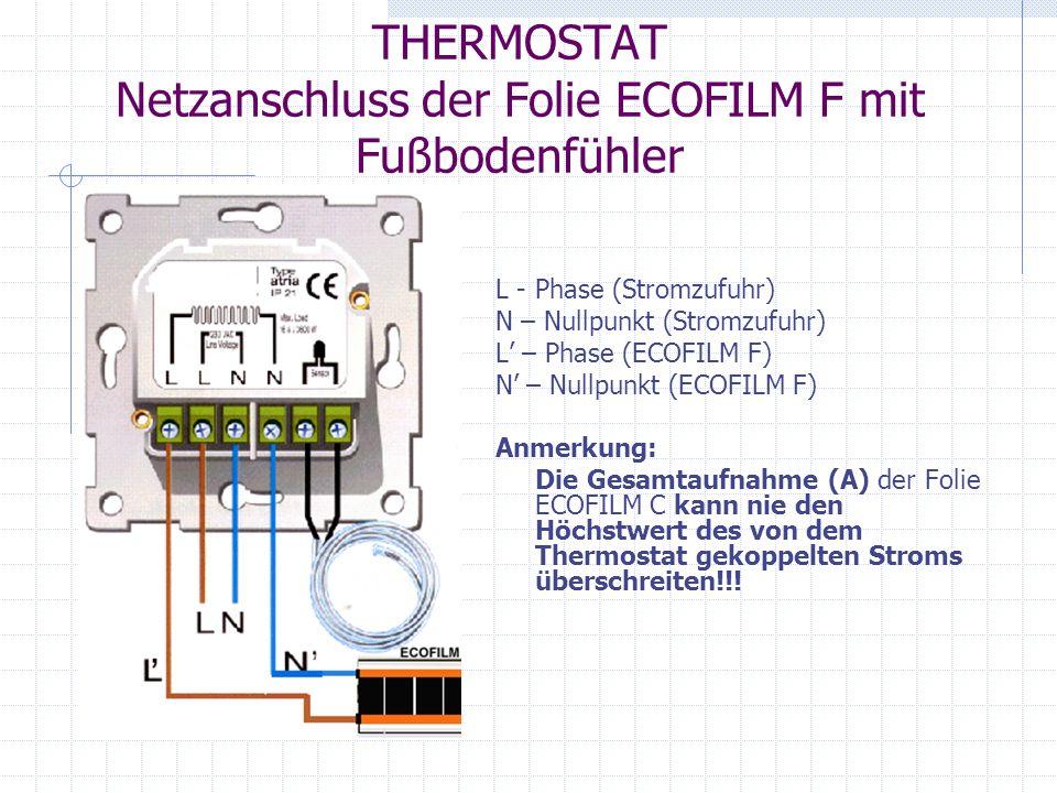 THERMOSTAT Netzanschluss der Folie ECOFILM F mit Fußbodenfühler