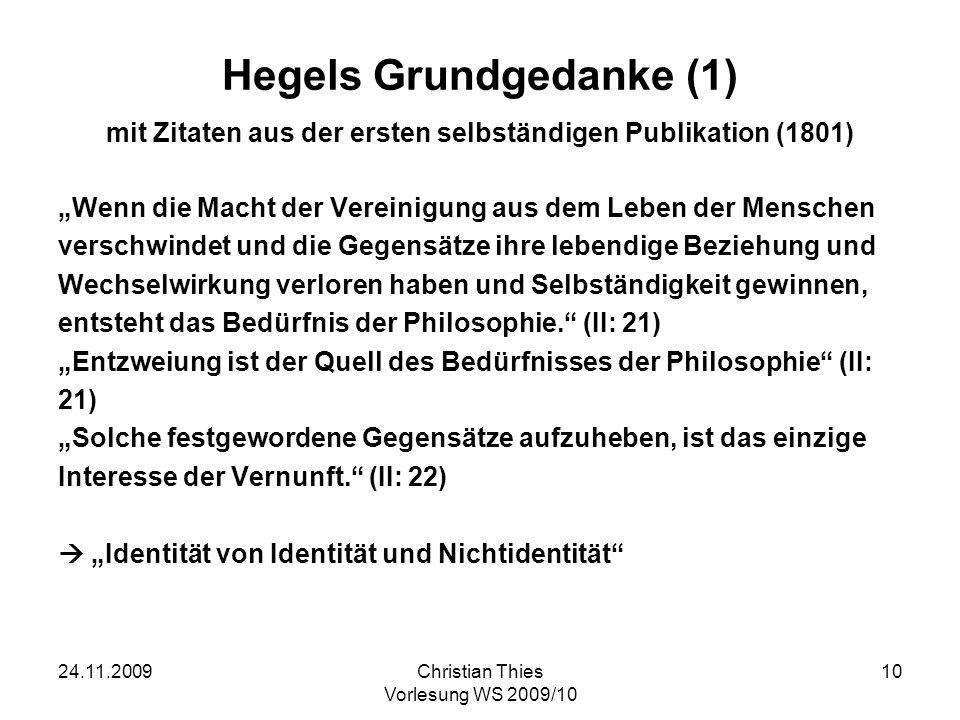 Hegels Grundgedanke (1) mit Zitaten aus der ersten selbständigen Publikation (1801)