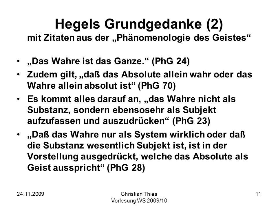 """Hegels Grundgedanke (2) mit Zitaten aus der """"Phänomenologie des Geistes"""