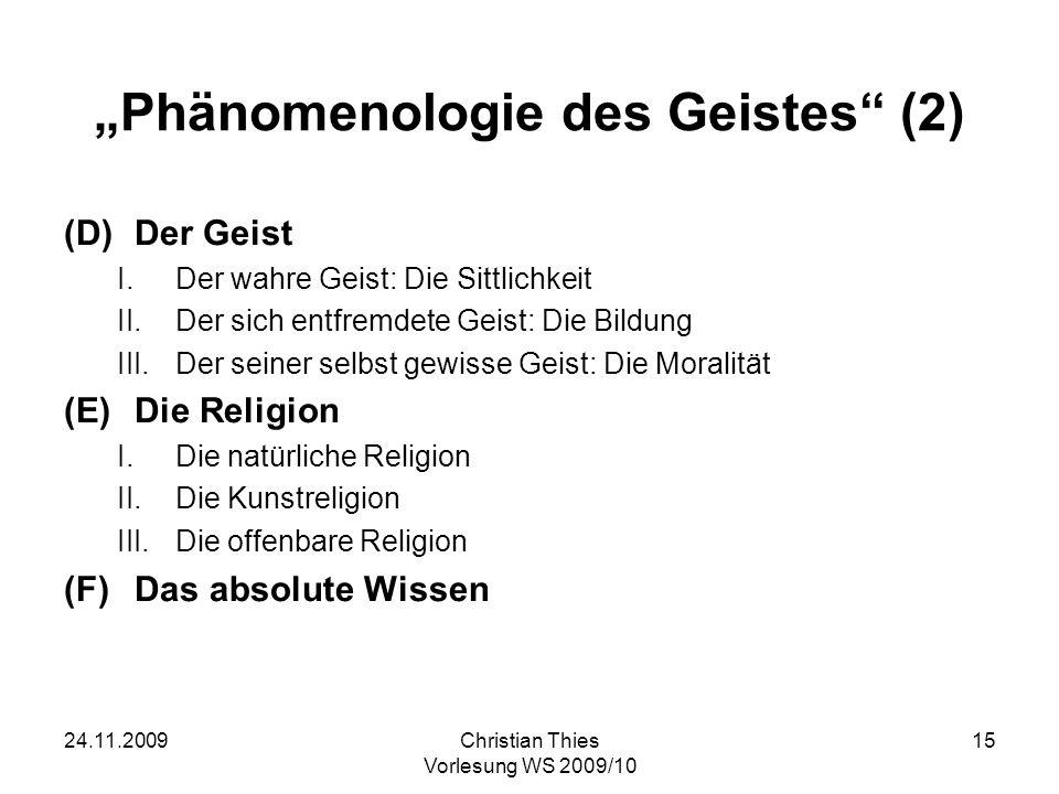 """Phänomenologie des Geistes (2)"