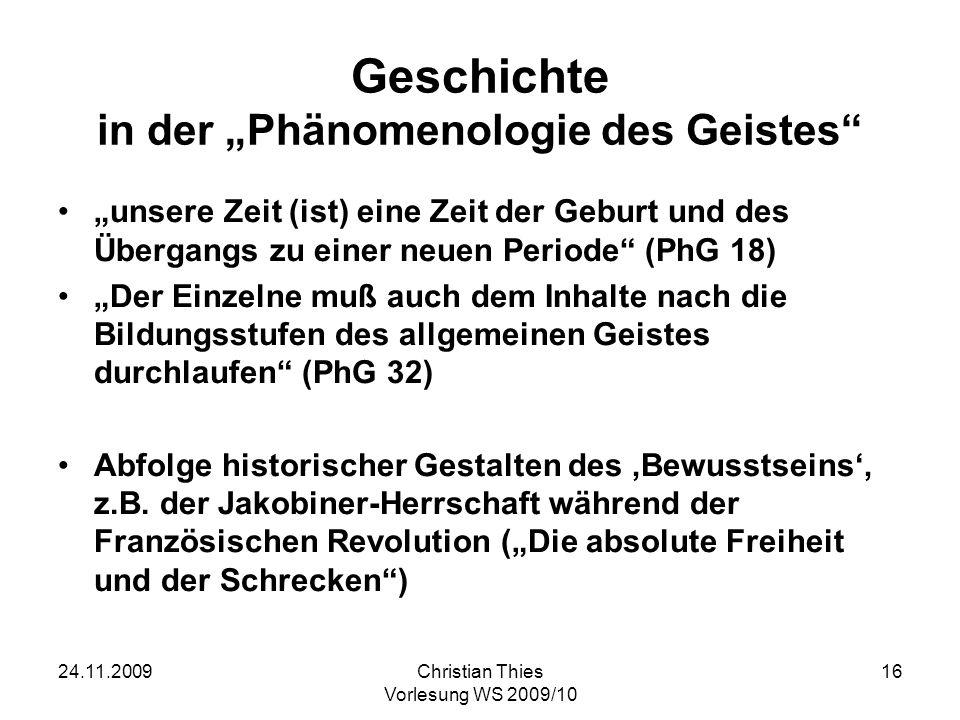 """Geschichte in der """"Phänomenologie des Geistes"""
