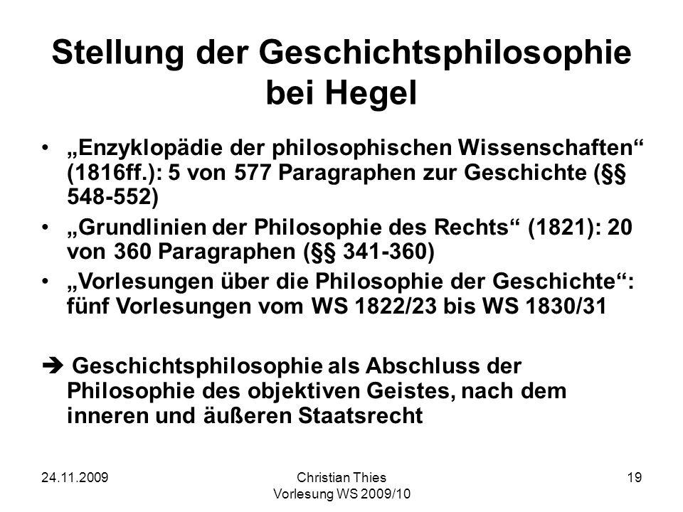 Stellung der Geschichtsphilosophie bei Hegel