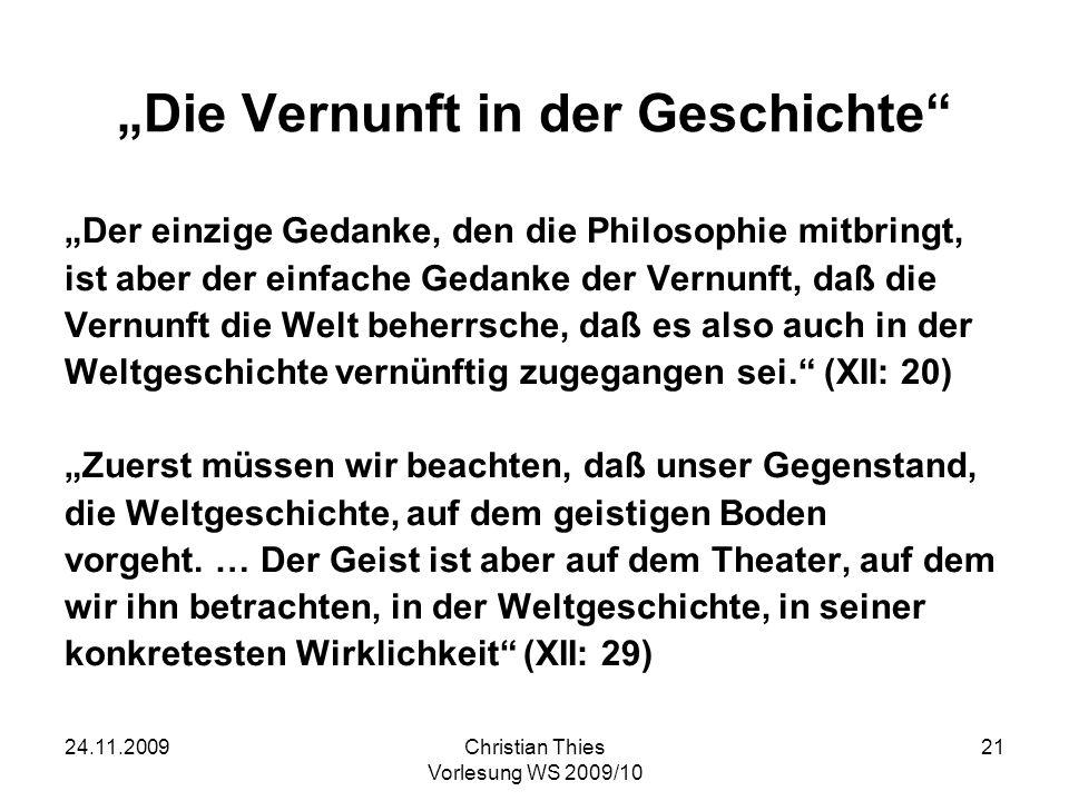 """""""Die Vernunft in der Geschichte"""