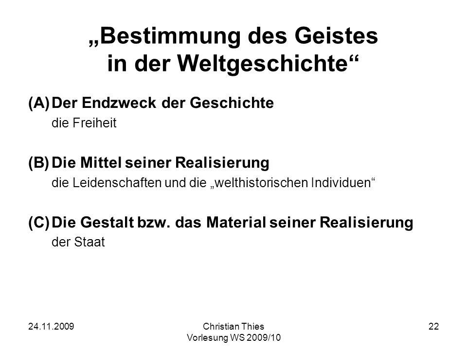 """""""Bestimmung des Geistes in der Weltgeschichte"""