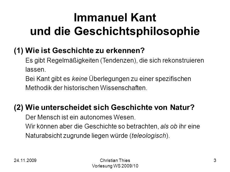 Immanuel Kant und die Geschichtsphilosophie