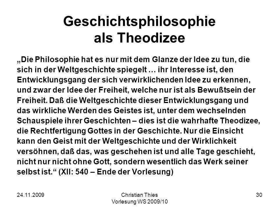 Geschichtsphilosophie als Theodizee