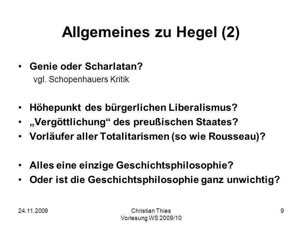 Allgemeines zu Hegel (2)
