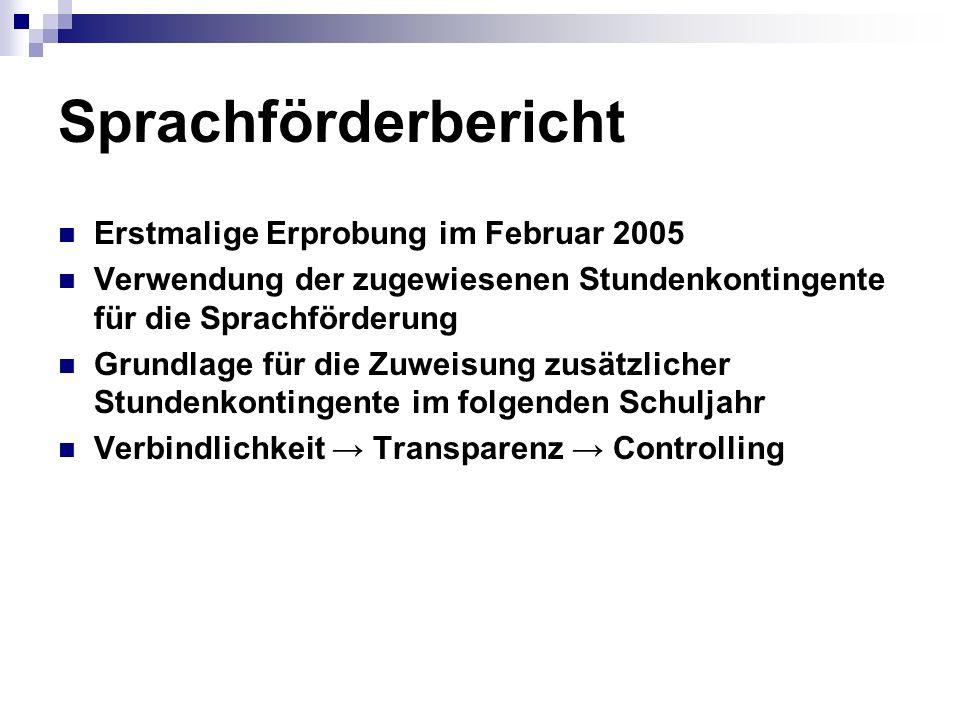 Sprachförderbericht Erstmalige Erprobung im Februar 2005